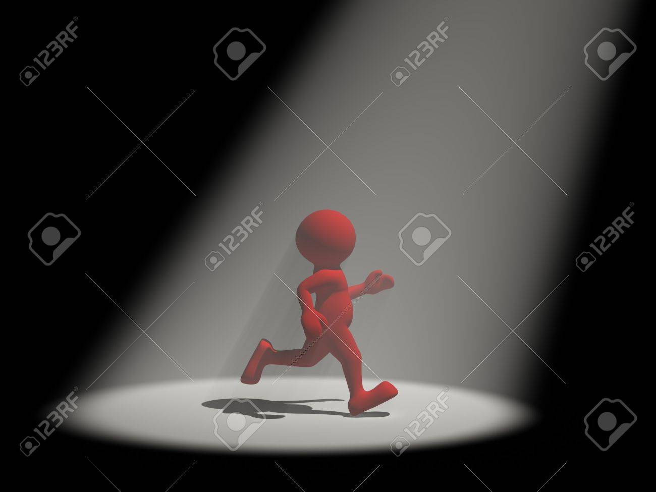3d people - human character in the light reflector  3d render illustration Stock Illustration - 14767209