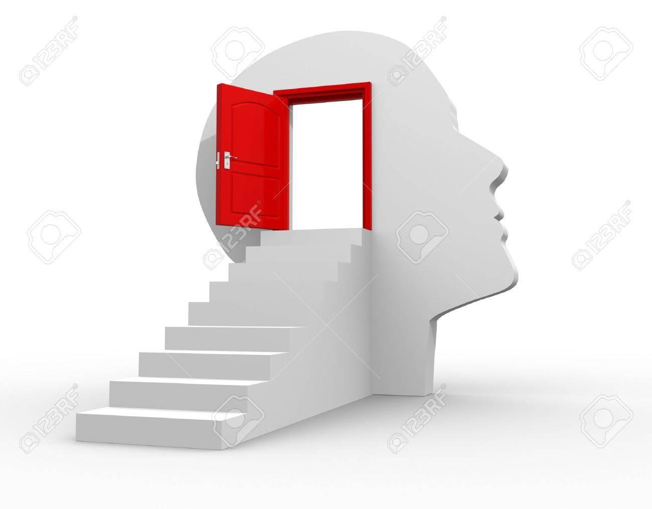 Human head with an open door - 3d render illustration Stock Photo - 14767382