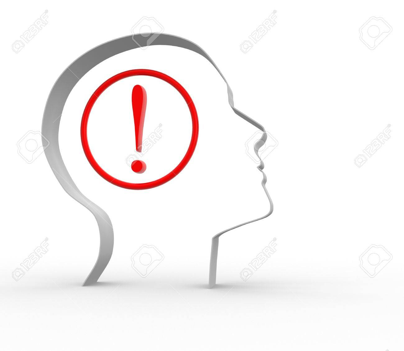 Human head with exclamation mark. 3d render illustration Stock Illustration - 14800017