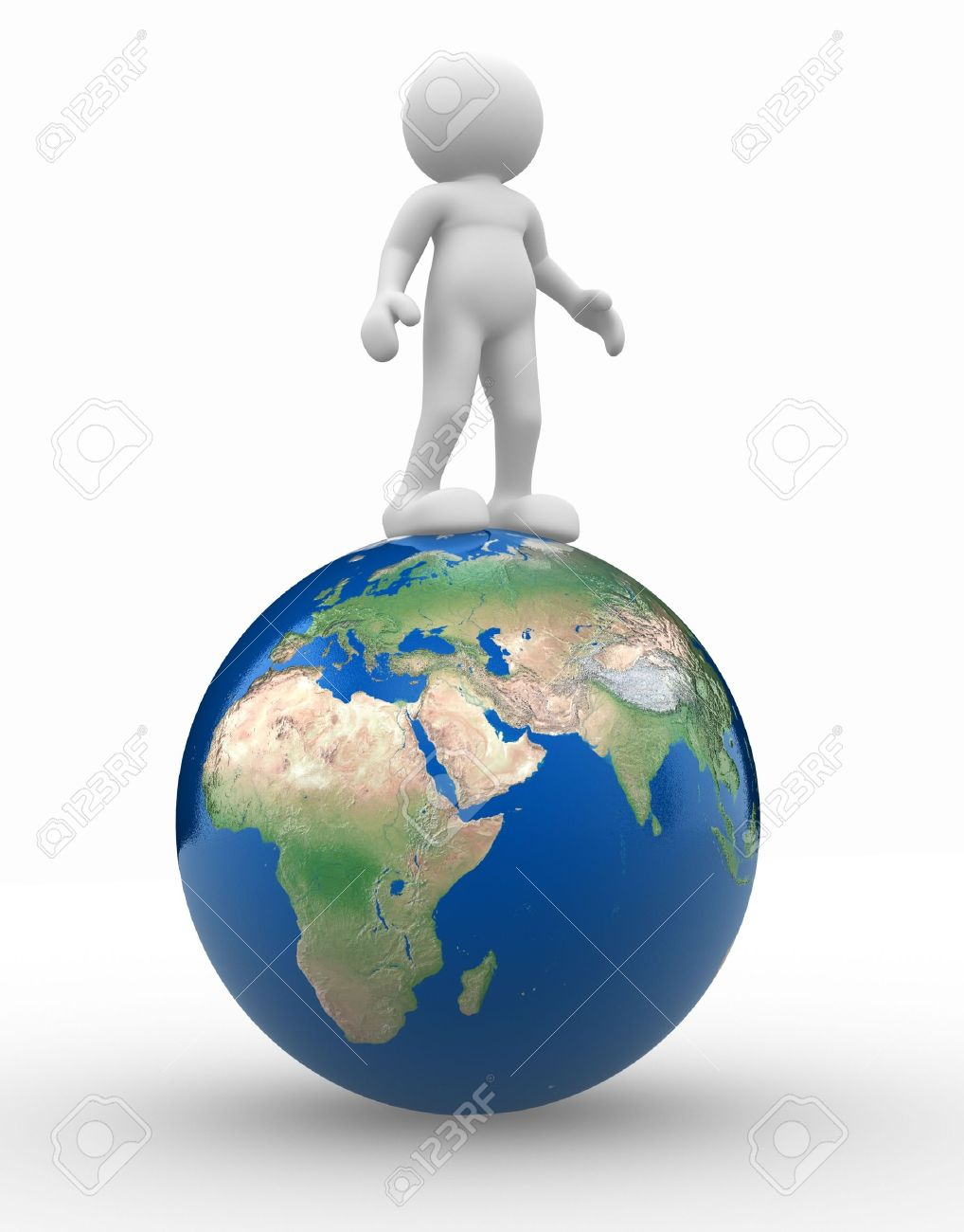 3d people - human character and earth globe. 3d render illustration Stock Photo - 14801801
