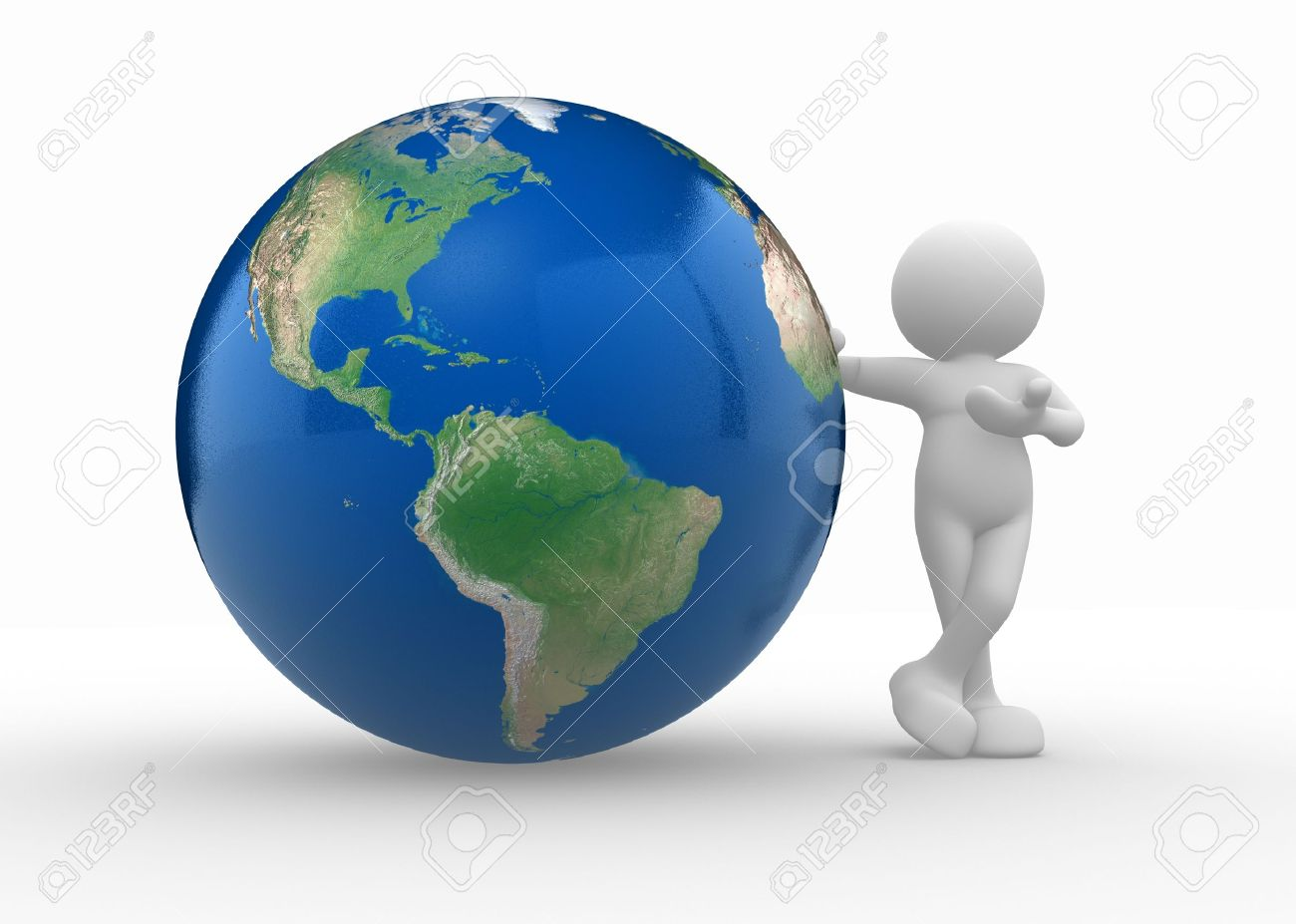 3d people - human character and earth globe. 3d render illustration Stock Illustration - 14802683