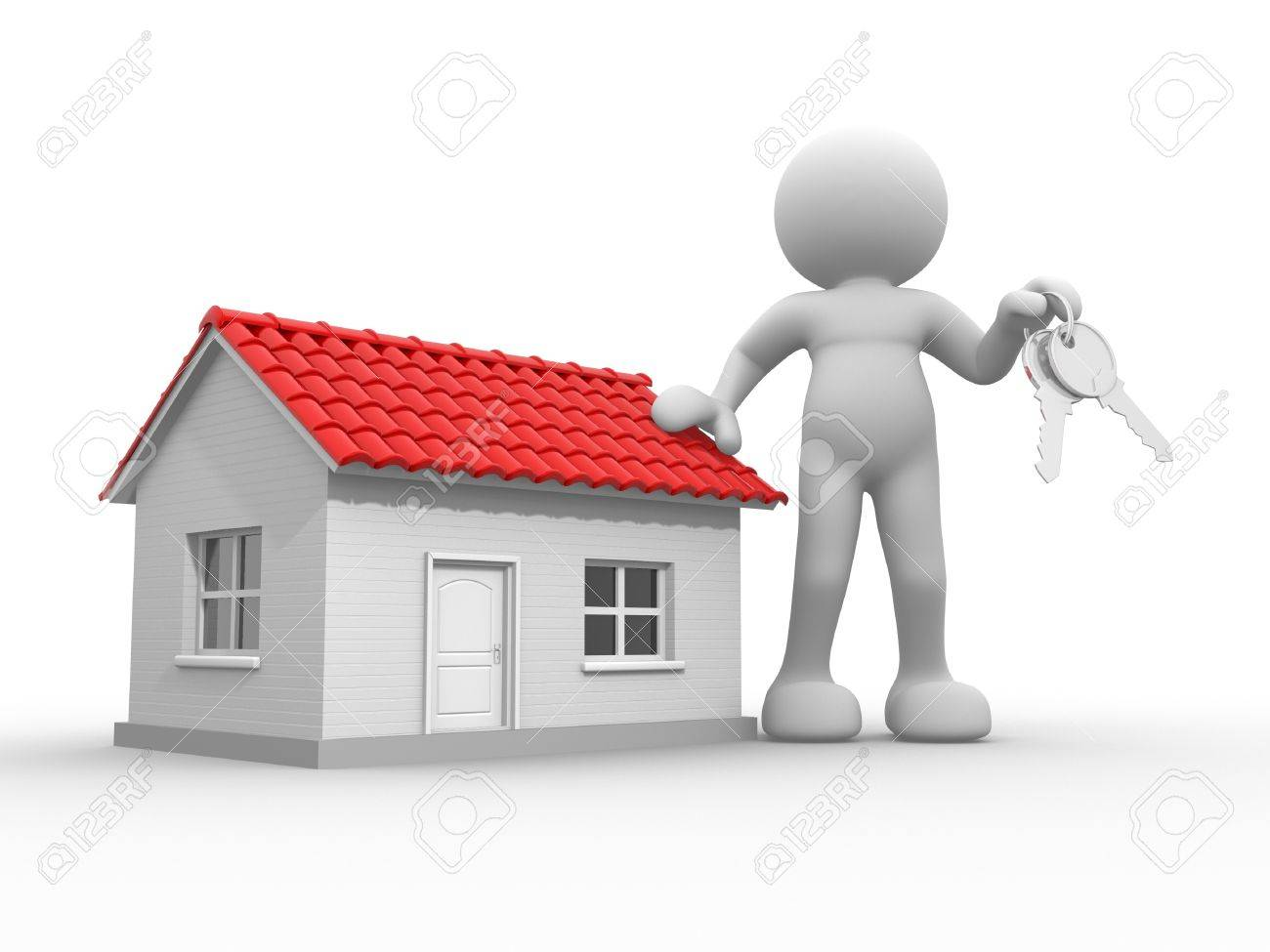 3d people - human character with  keys in hand, and a house . 3d render illustration Stock Illustration - 14802253