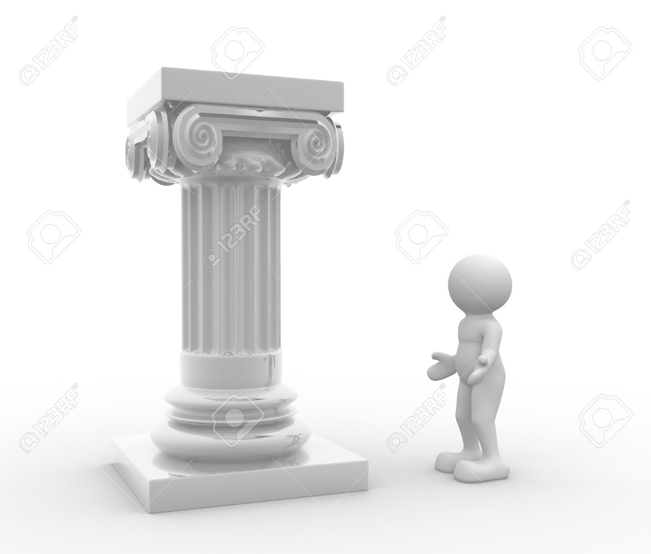 3d people - human character and roman column. 3d render illustration Stock Photo - 14801119