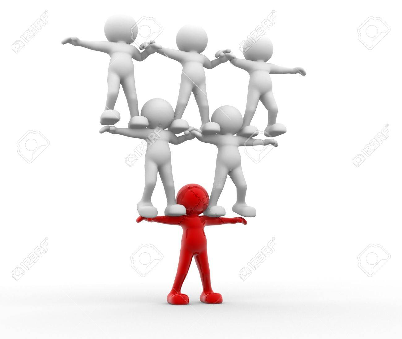 3d people- human character sit in the balance. 3d render illustration Stock Illustration - 14800689
