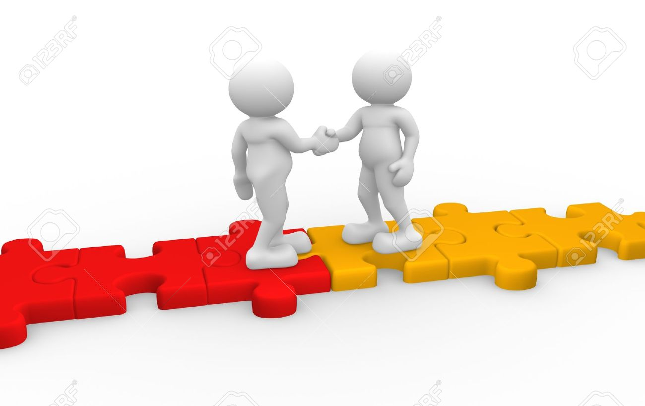 3d people - human character , person  shaking hands  and a jigsaw. 3d render illustration Stock Illustration - 14801511