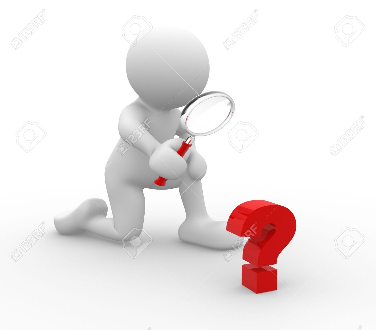 3d person with magnifying glass and question mark stock images image - 3d People Human Character Person With Magnifying Glass Question Mark Red Search 3d