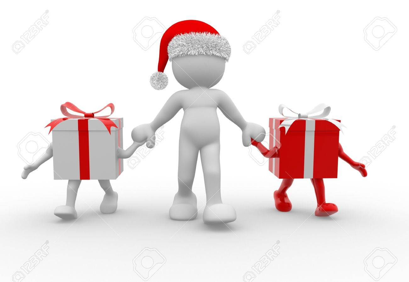 Men holding the word party concept 3d illustration stock photo - Gathering People 3d People Human Character With Christmas Gifts And A Santa Claus Hat