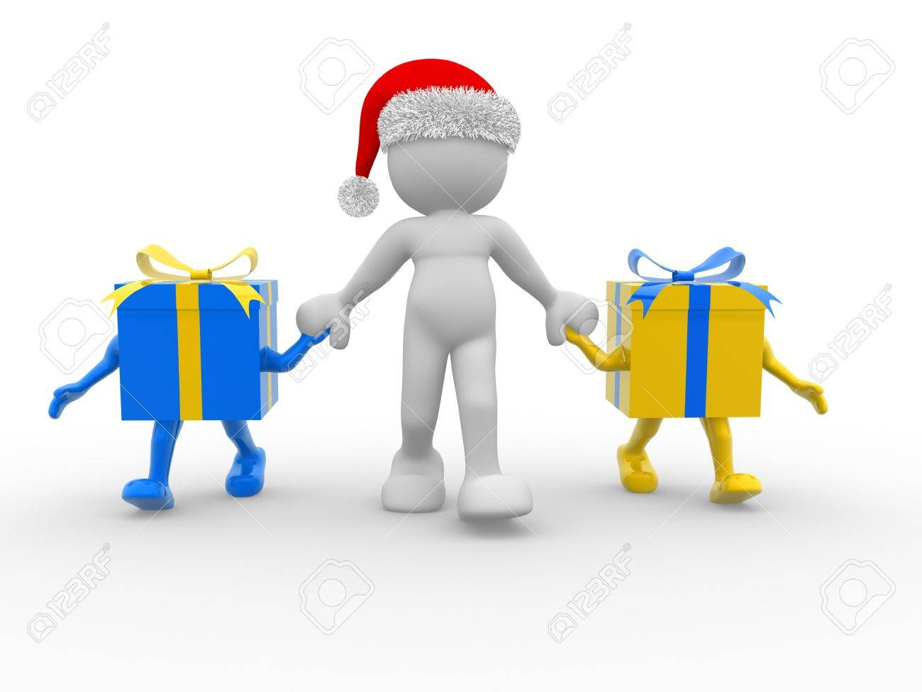 3d people - human character  with Christmas gifts and a Santa Claus hat. 3d render illustration Stock Illustration - 14802317