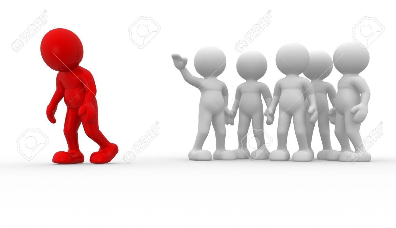 3d people - human character , person. Discrimination concept. Different.  3d render illustration Stock Illustration - 14801016