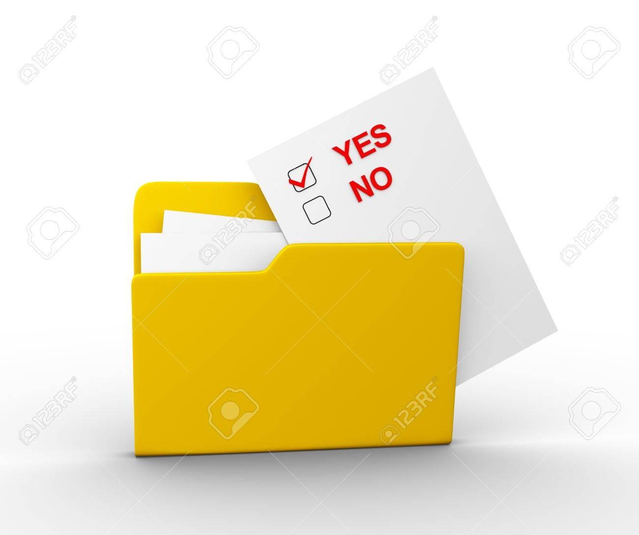 Checkbox yes or no and a folder. 3d render illustration Stock Illustration - 14800972