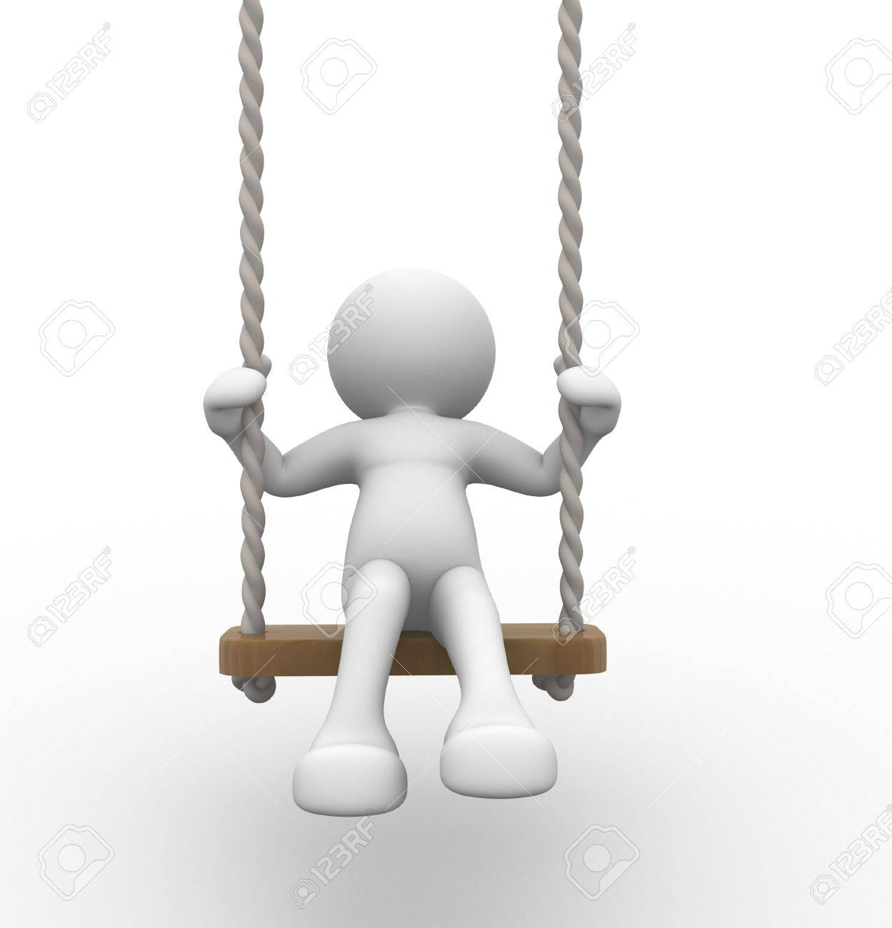 3d people - human character, person on the swing. Kid. 3d render Stock Photo - 14801046