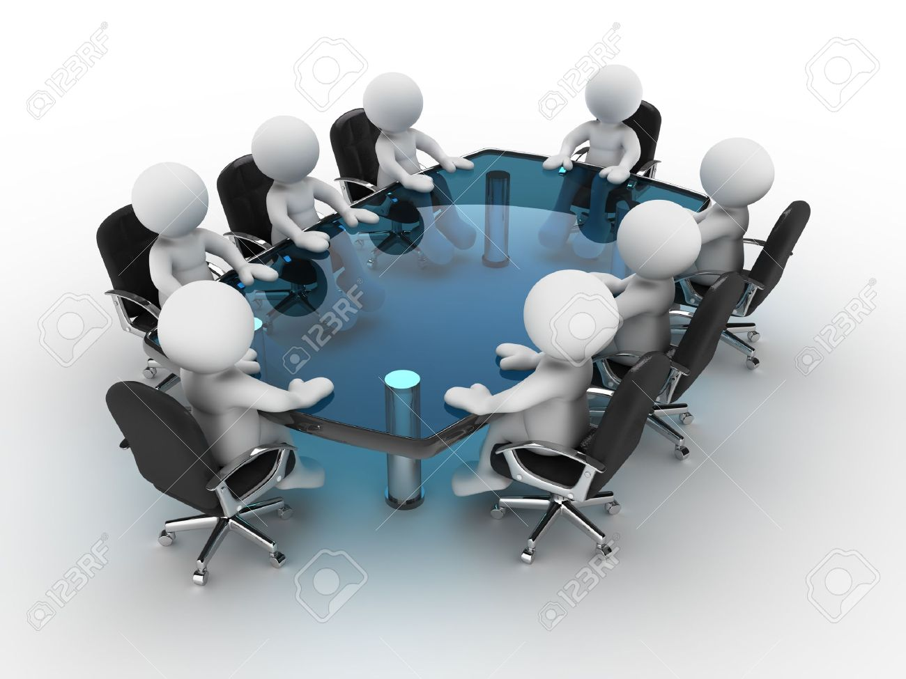 Round table meeting icon - Round Table 3d People Human Character Person At Conference Table 3d Render