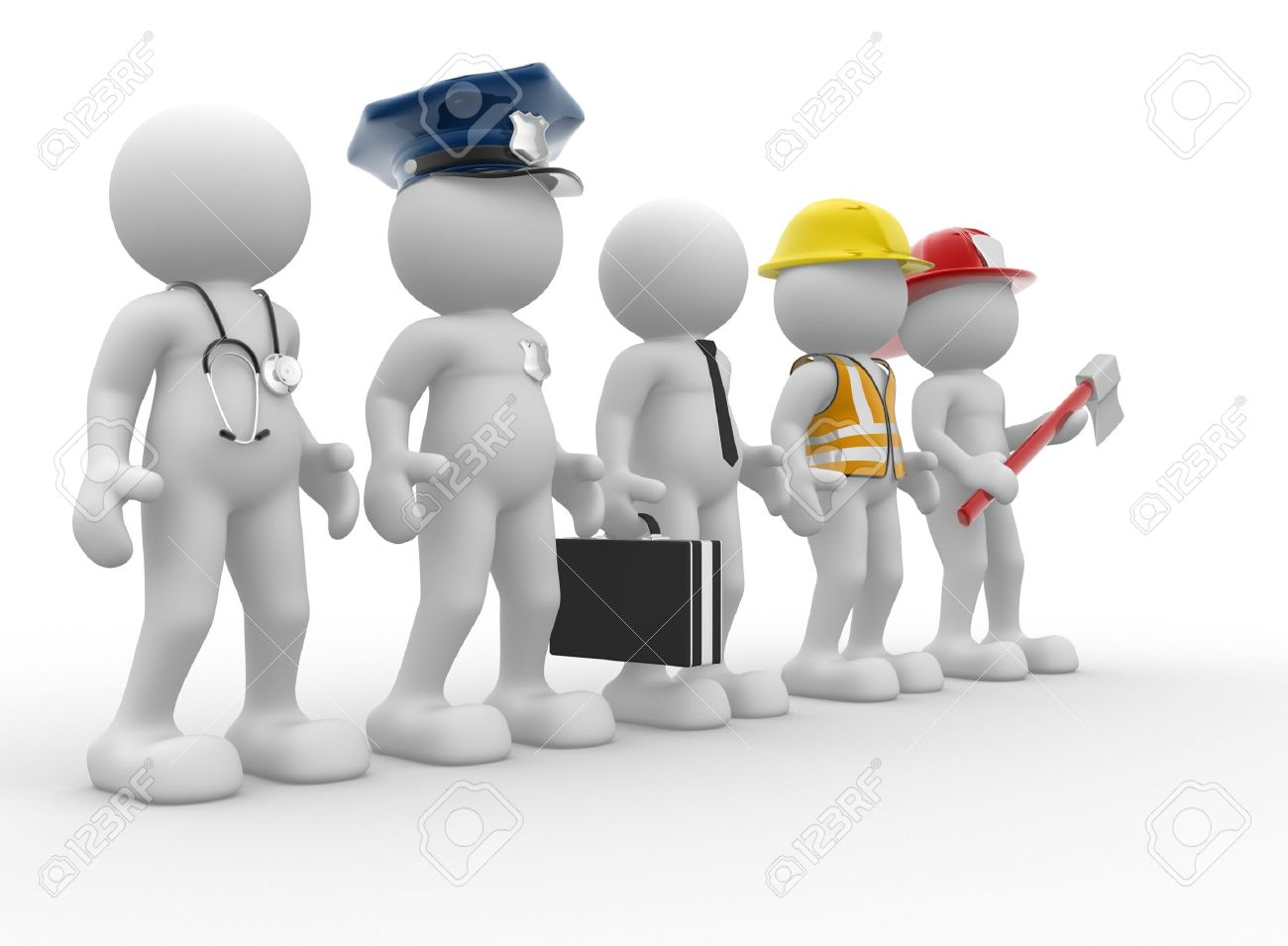 3d people - human character, person with different professions. Doctor, policeman, businessman, engineer, fireman. 3d render Stock Photo - 14802060