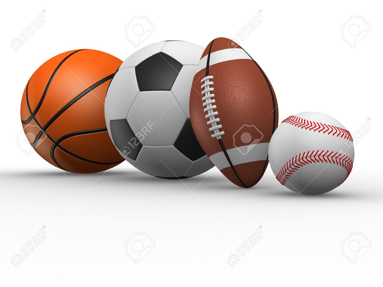 The football, rugby, baseball and basketball. 3d render various sports balls. Stock Photo - 14802601