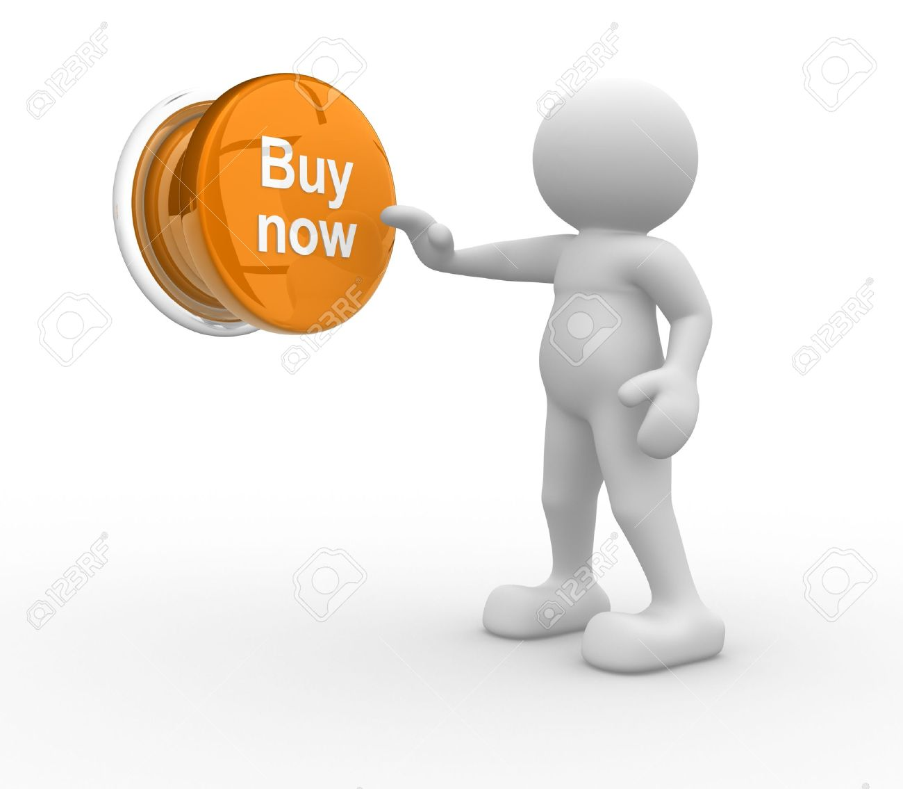 3d people- human character , person pressing a button   Buy now    3d render illustration Stock Illustration - 14801351