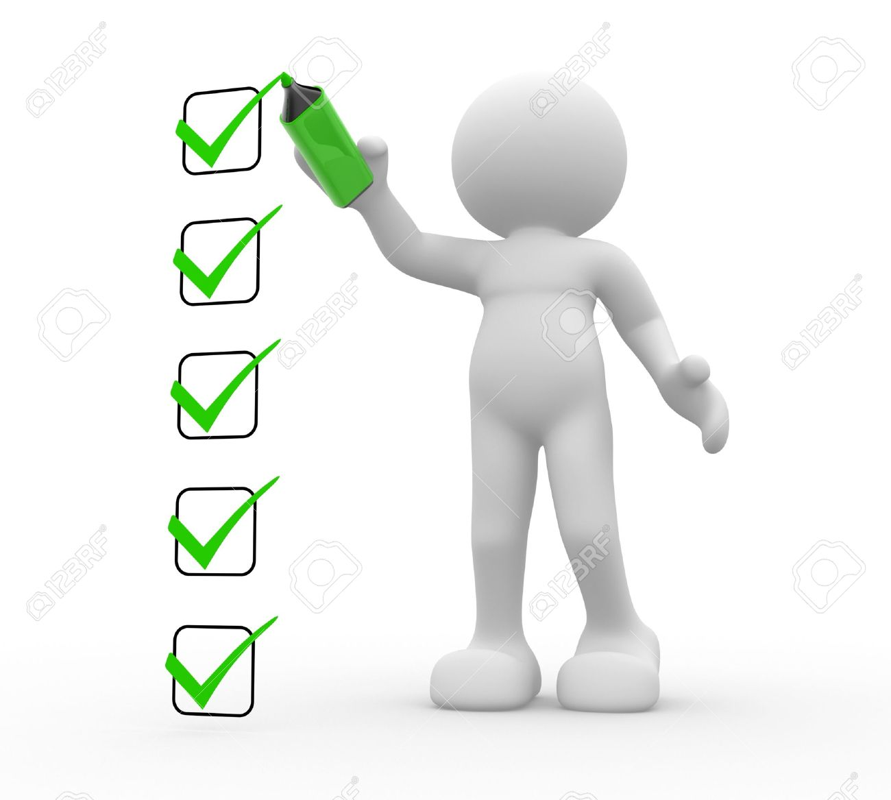 3d  people - human character, person and  a checklist  3d render Stock Photo - 14800023