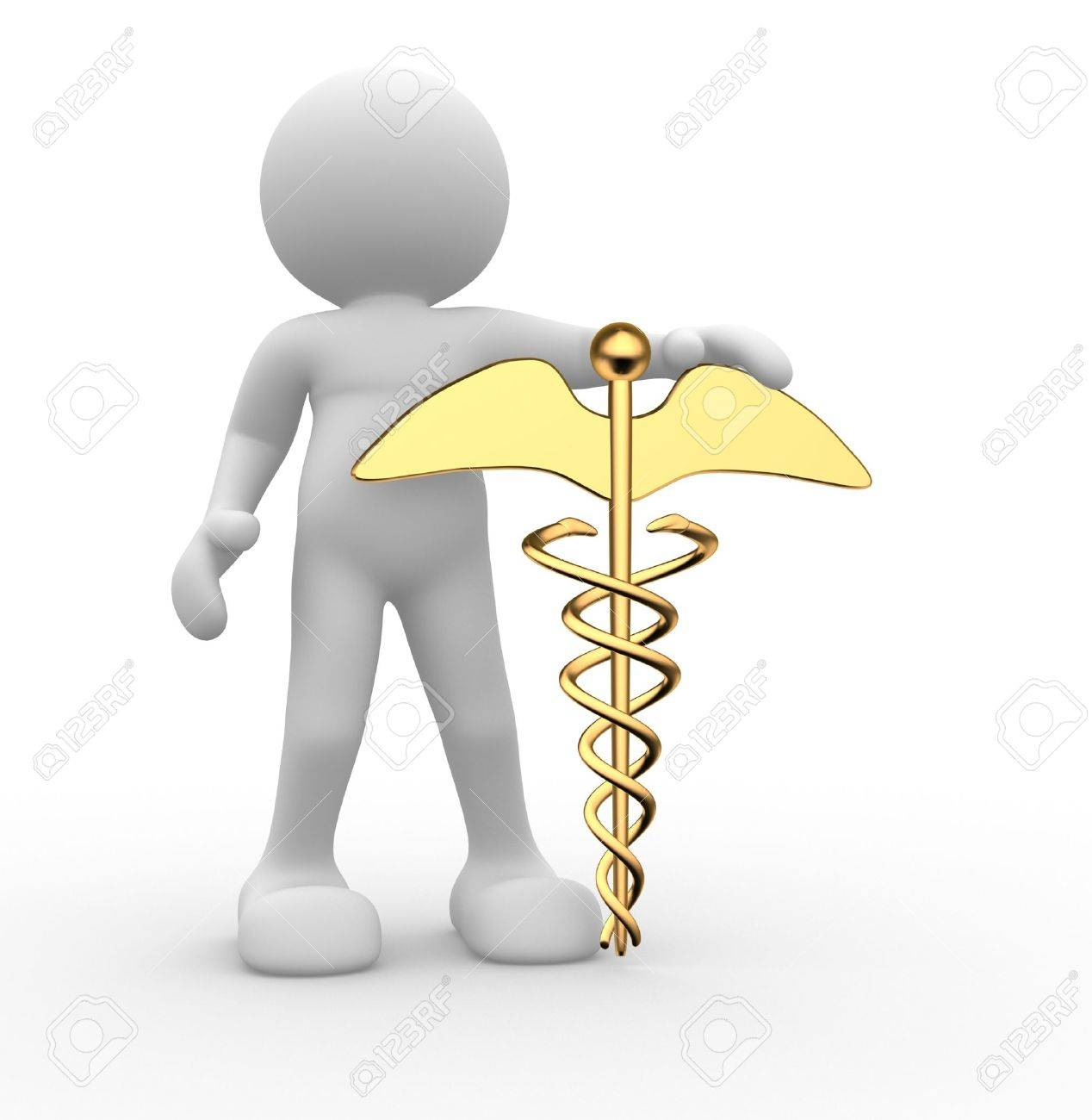 3d people - human character , person with golden symbol of caduceus. 3d render Stock Photo - 14800709