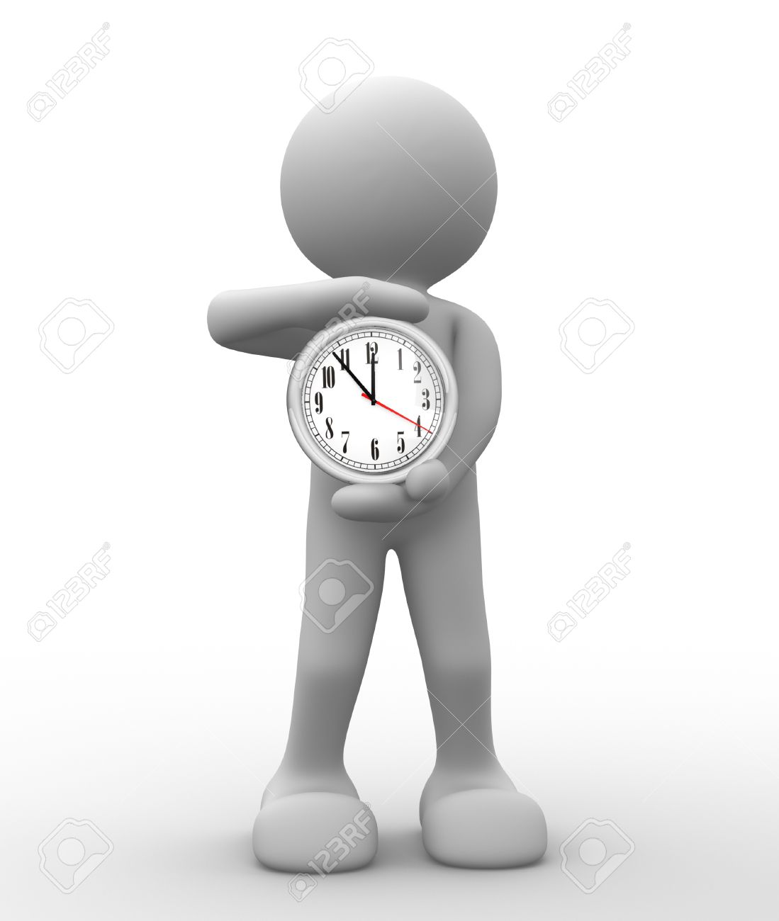 3d people - human character, person with a clock. 3d render Stock Photo - 14800406