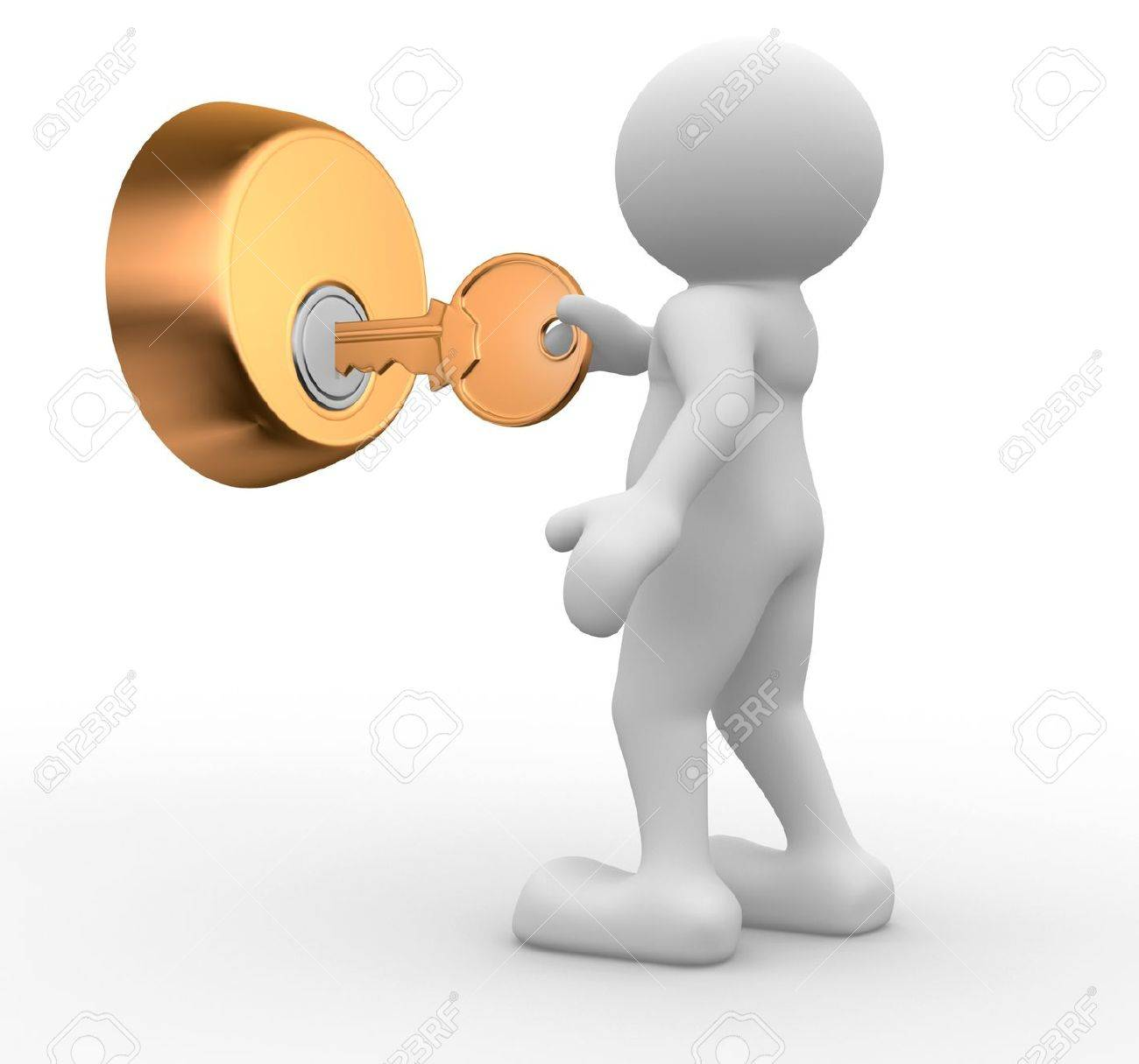 3d people - human character , person  and  a key in keyhole. 3d render Stock Photo - 14801084