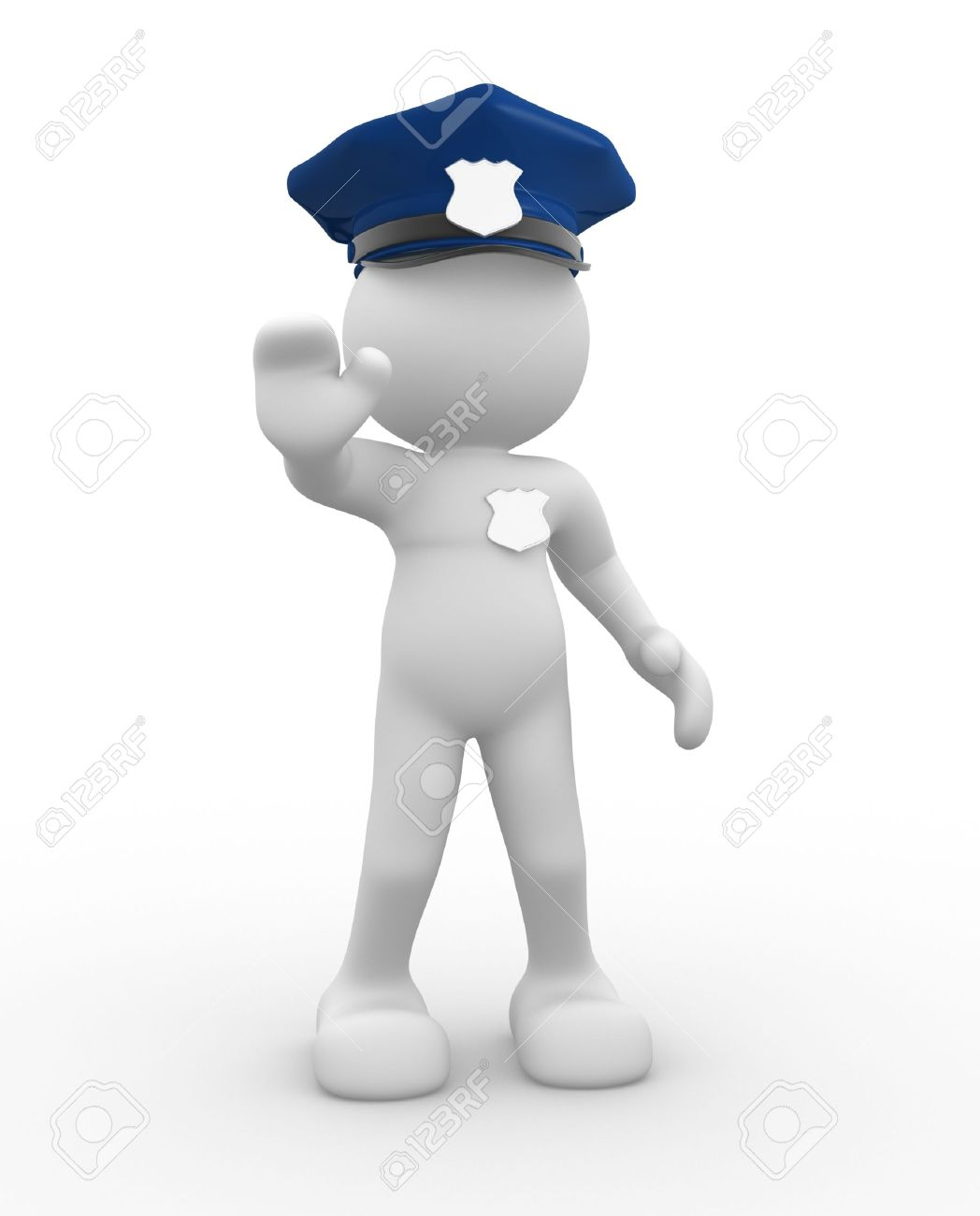 3d people - human character , person with police helmet and badge - policeman. 3d render Stock Photo - 14799966