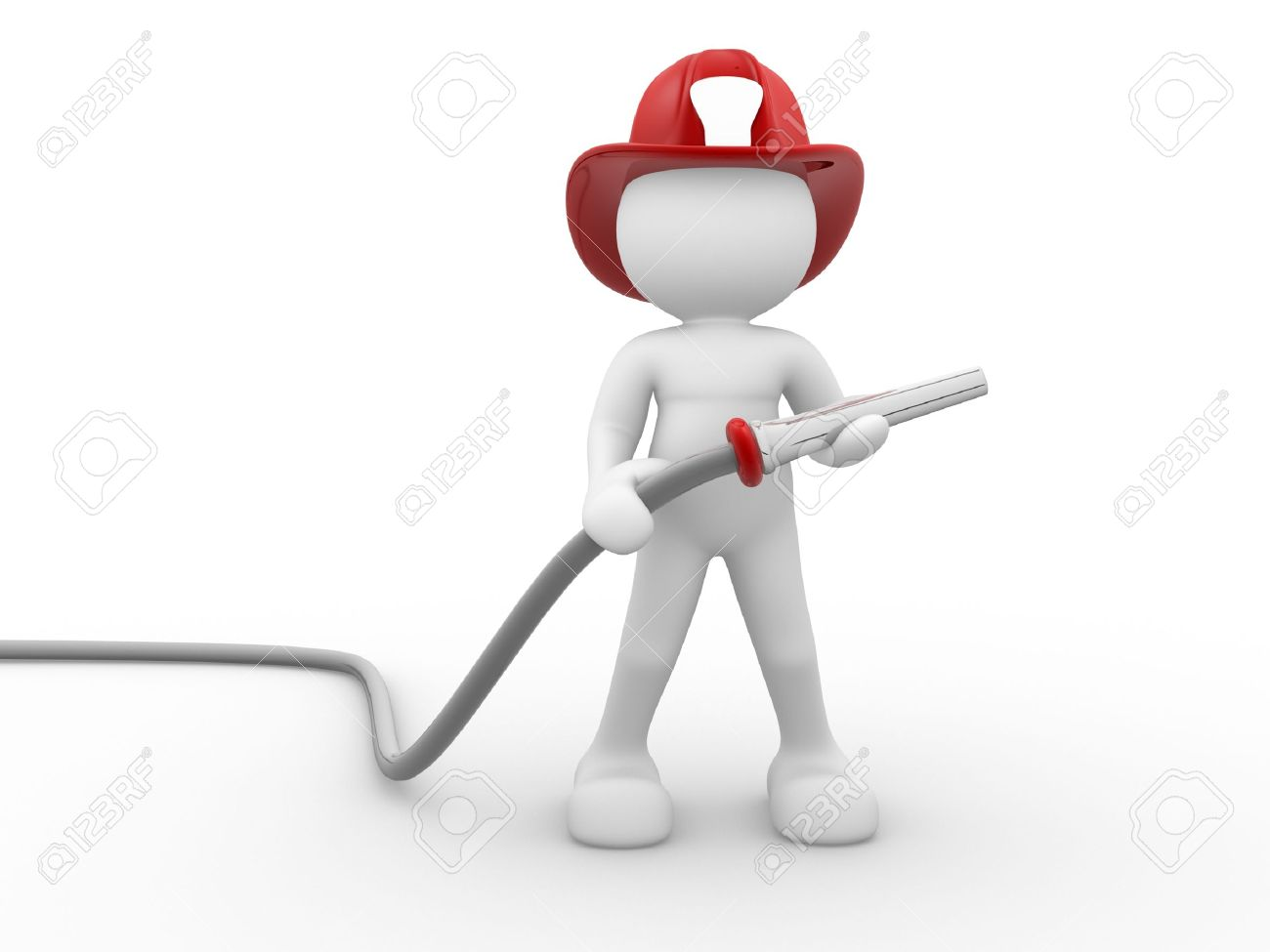 3d people - human character , person - fireman and a hose. 3d render Stock Photo - 14801356