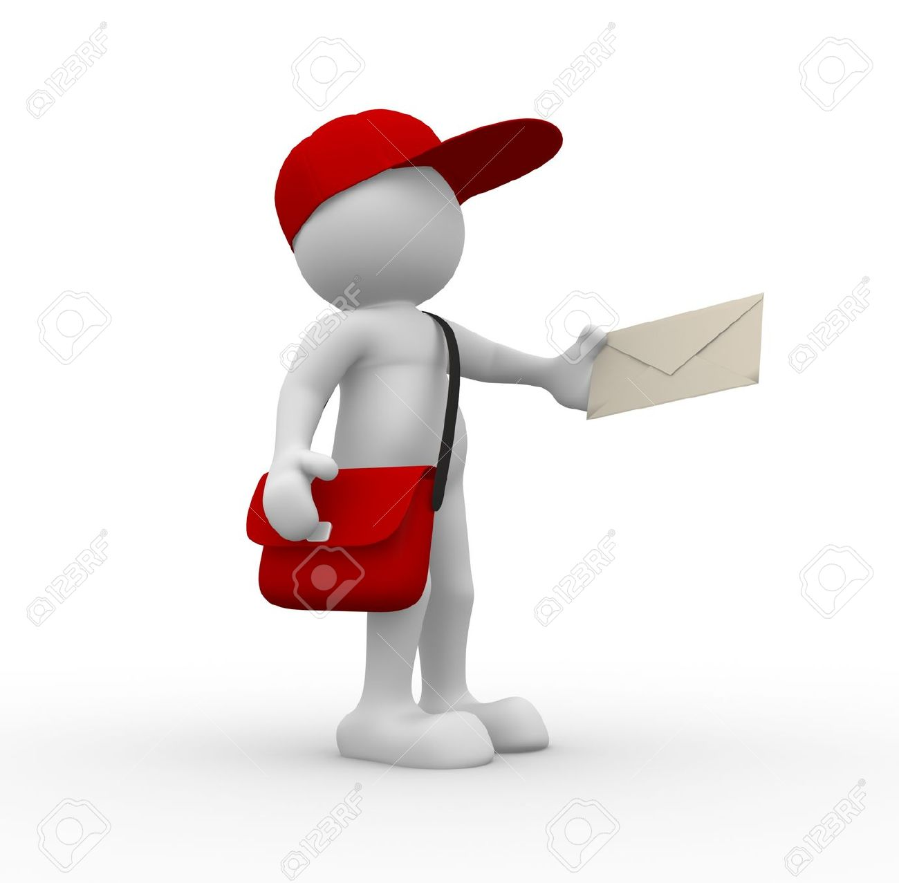 3d people - human character, person with cap. Postman with envelope and bag. 3d render Standard-Bild - 14800007