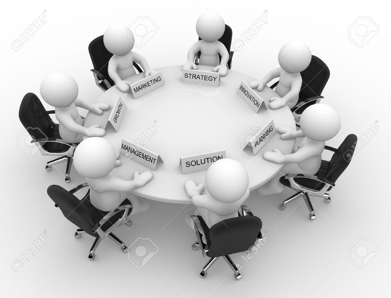 Round table meeting icon - Management Board Meeting 3d People Men Person To Conference Table Meeting