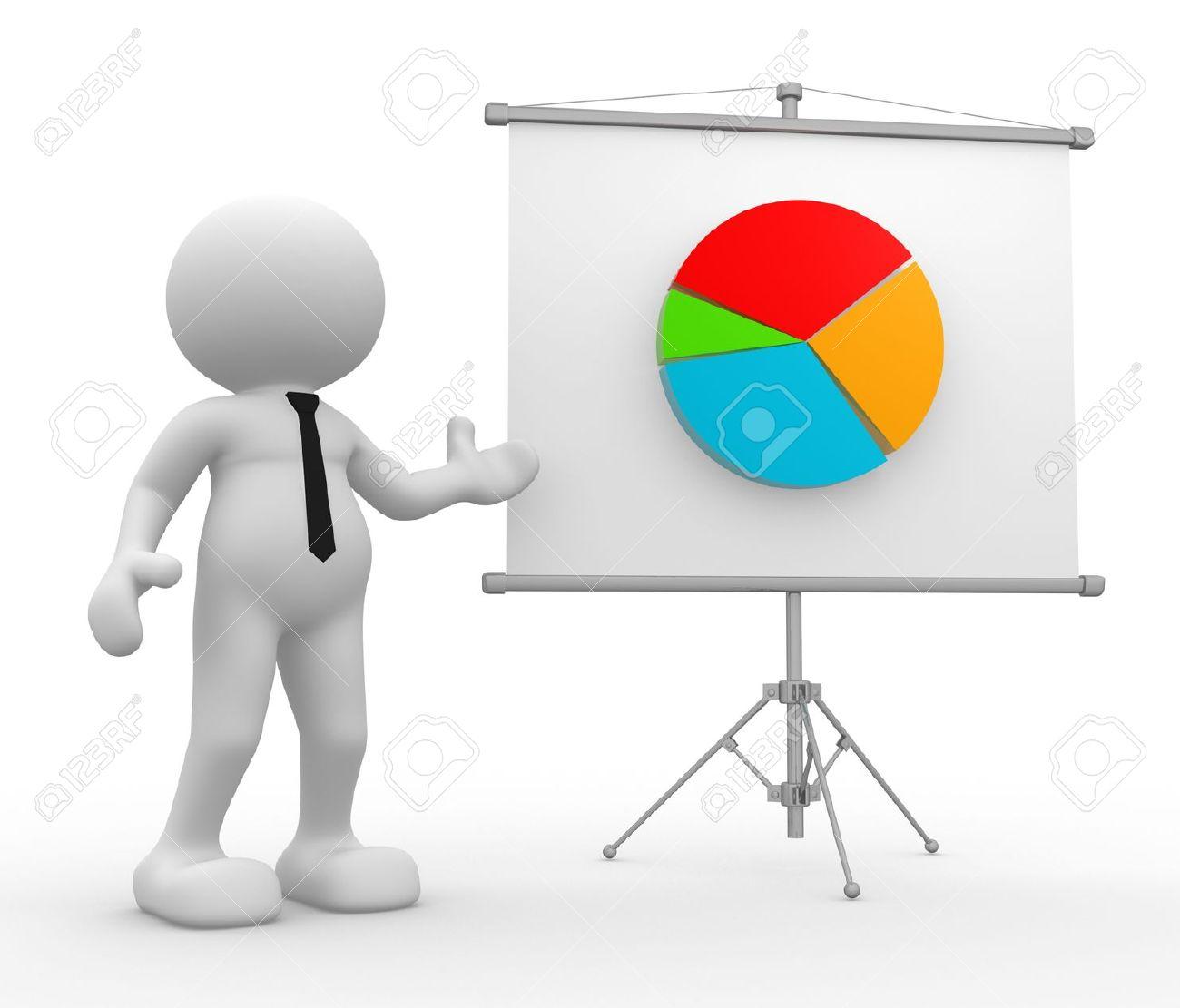 Bonhomme Graphique 3d personnes - homme, personne présente graphique financier. banque