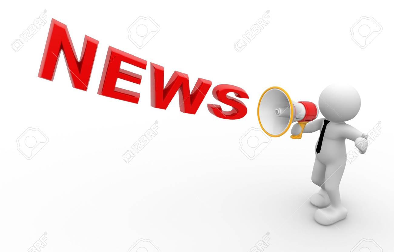 Men holding the word party concept 3d illustration stock photo - Loud 3d People Man Person And A Megaphone News Concept