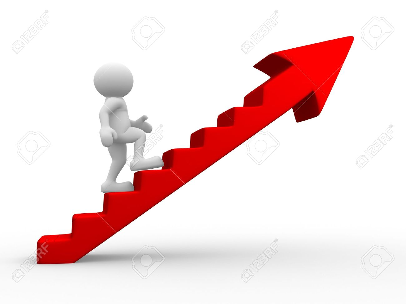 3d people - men, person climbing stairs with arrow. Stock Photo - 14814995