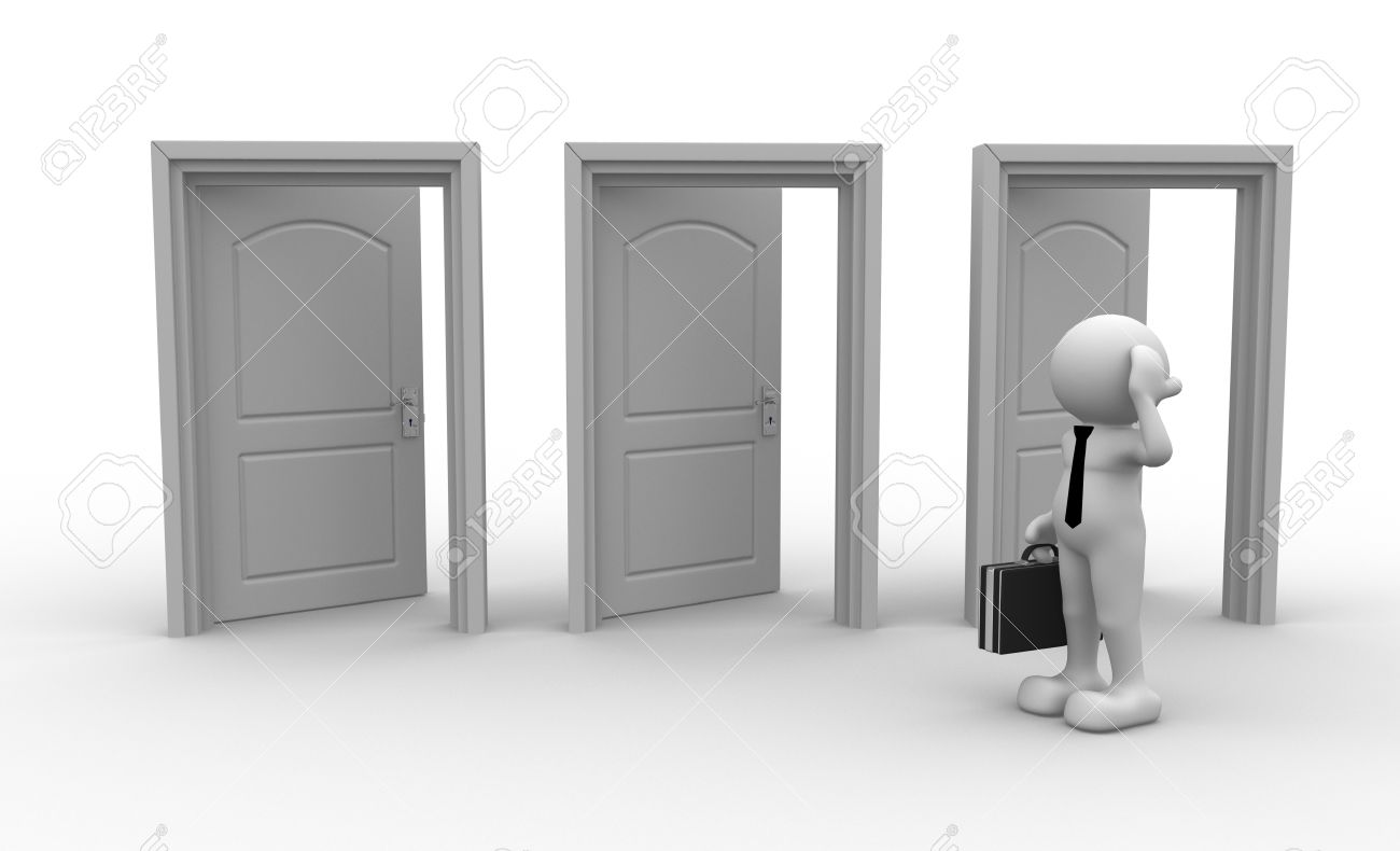 3d people - men, person and open doors. Businessman Stock Photo - 14815554