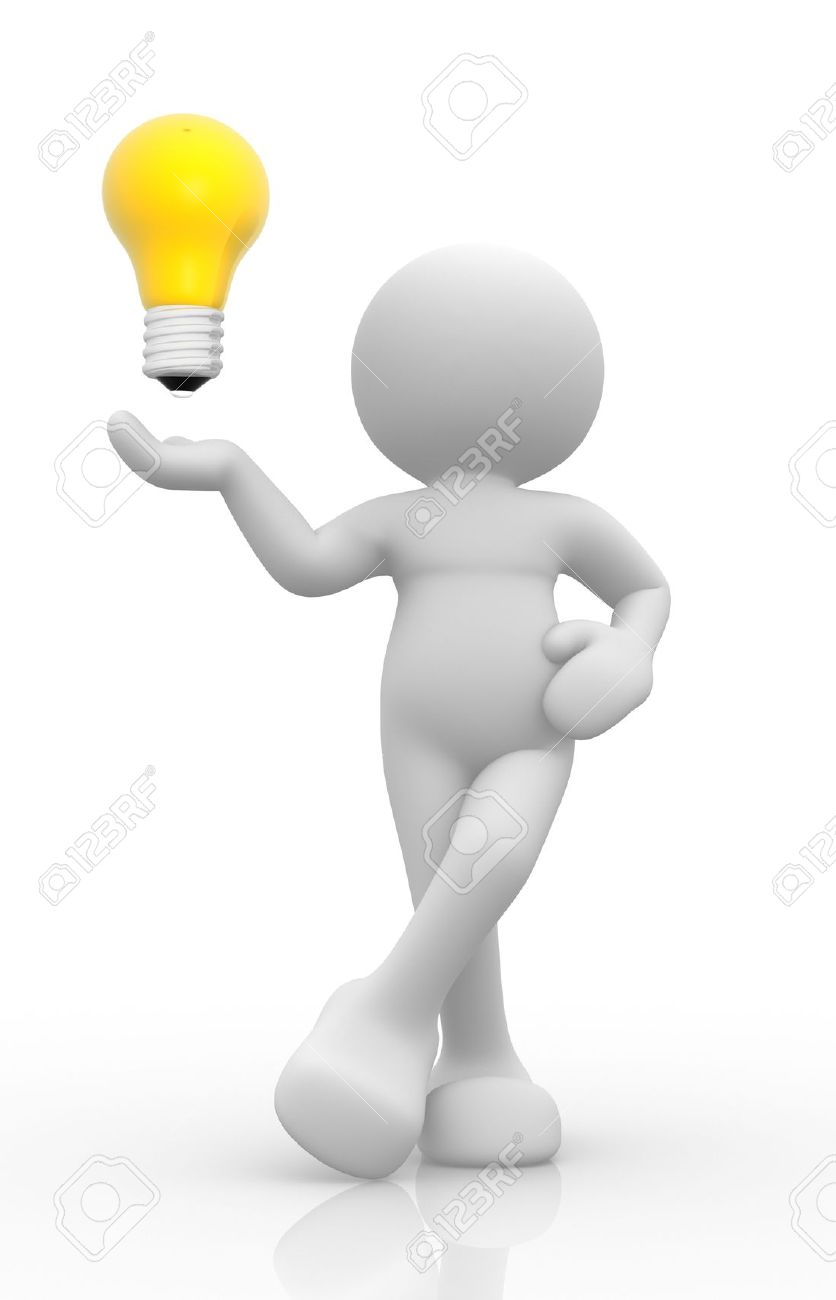 3d people - man, person show a lightbulb Stock Photo - 14814843
