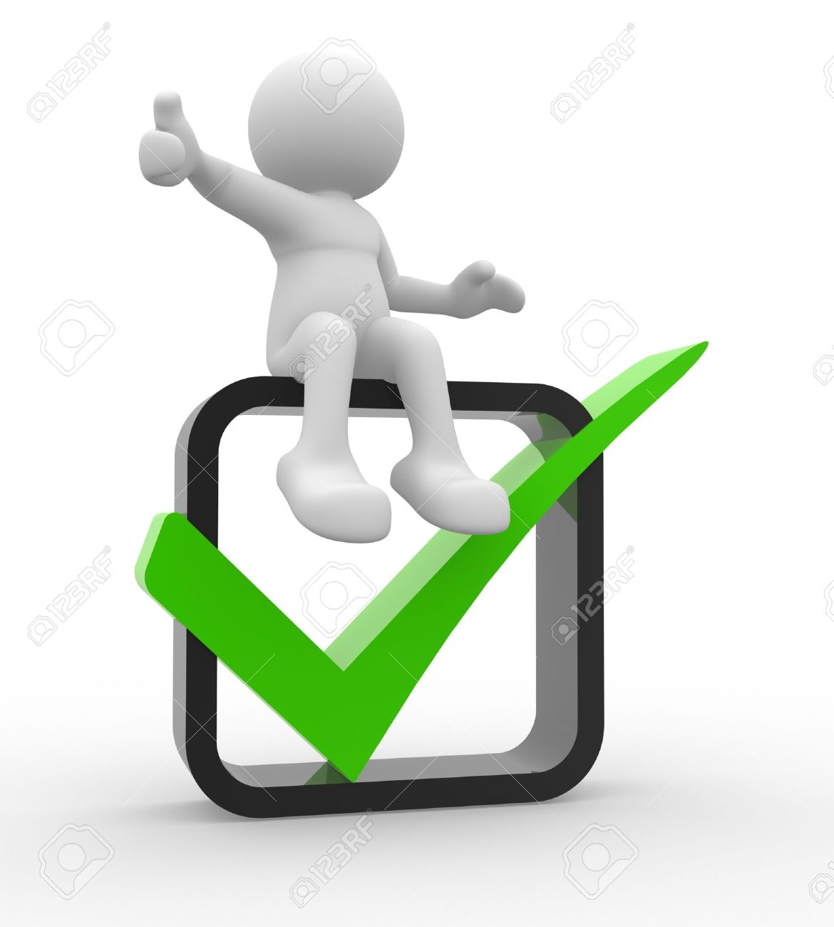 3d people -  man, person showing thumb up with green check mark in box. Stock Photo - 14814927