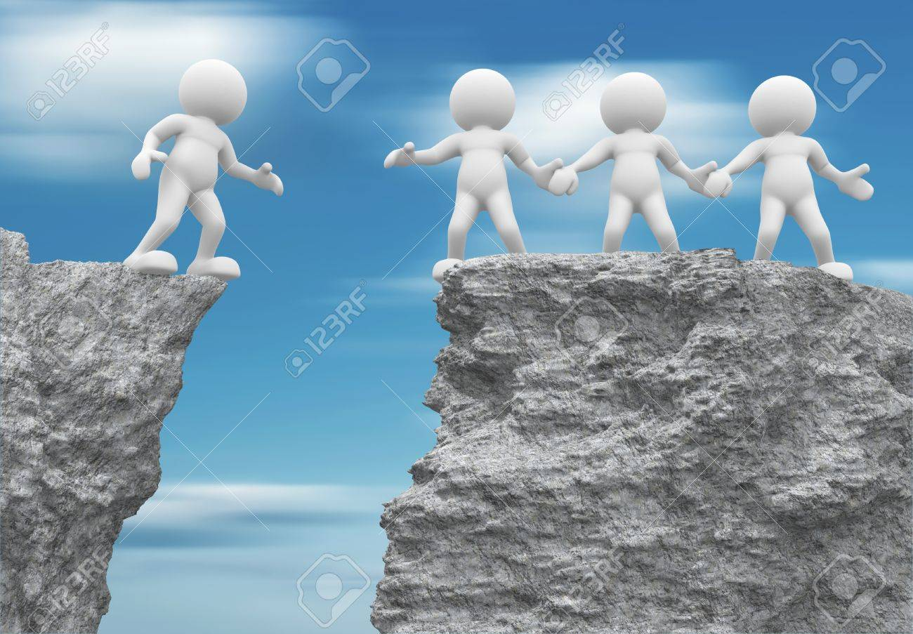 3d people - human character , person and a rock . Helping hand. 3d render Stock Photo - 14815630