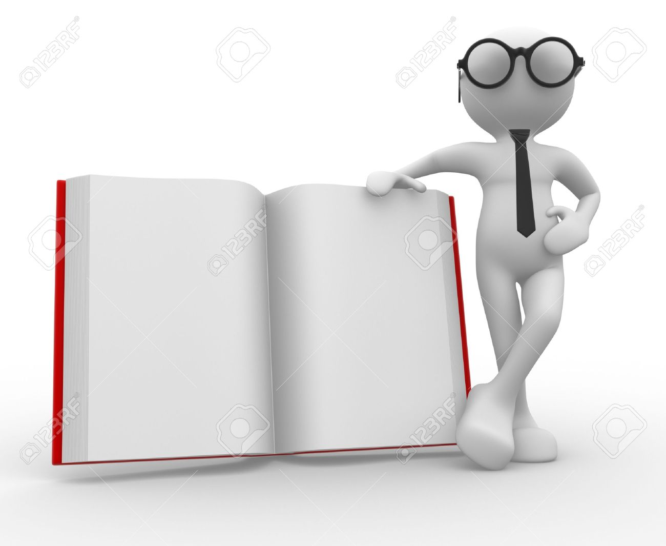 3d people - man, person and a book. Stock Photo - 14815467