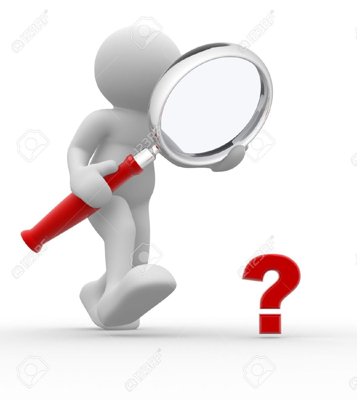 3d person with magnifying glass and question mark stock images image - 3d People Man Person With Magnifying Glass Question Mark Red Search Stock Photo