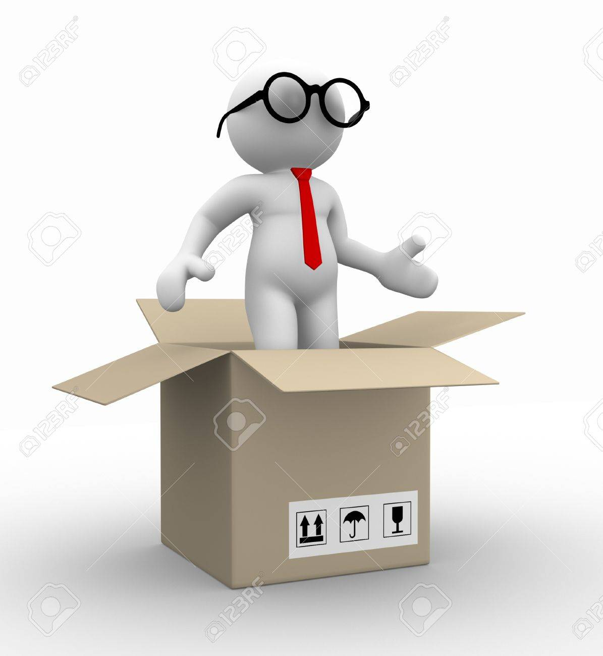 3d people - man , person in a box. Businessman Stock Photo - 14815123