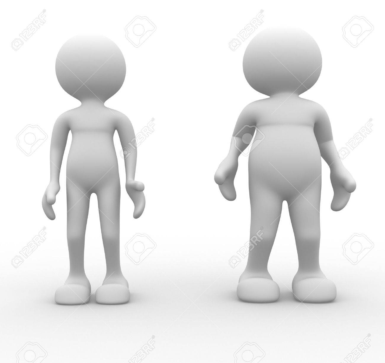 3d people - men, person. Fat and weak. Concept of diet Stock Photo - 14814980
