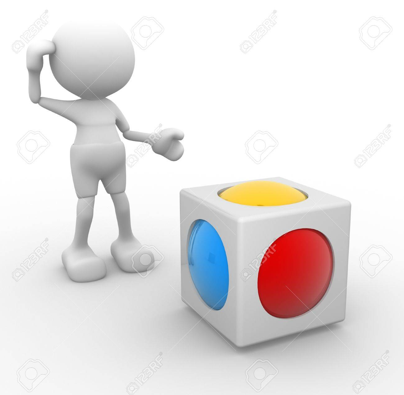 3d people - man, person and a cube with sphere inside  Abstract design Stock Photo - 14868592