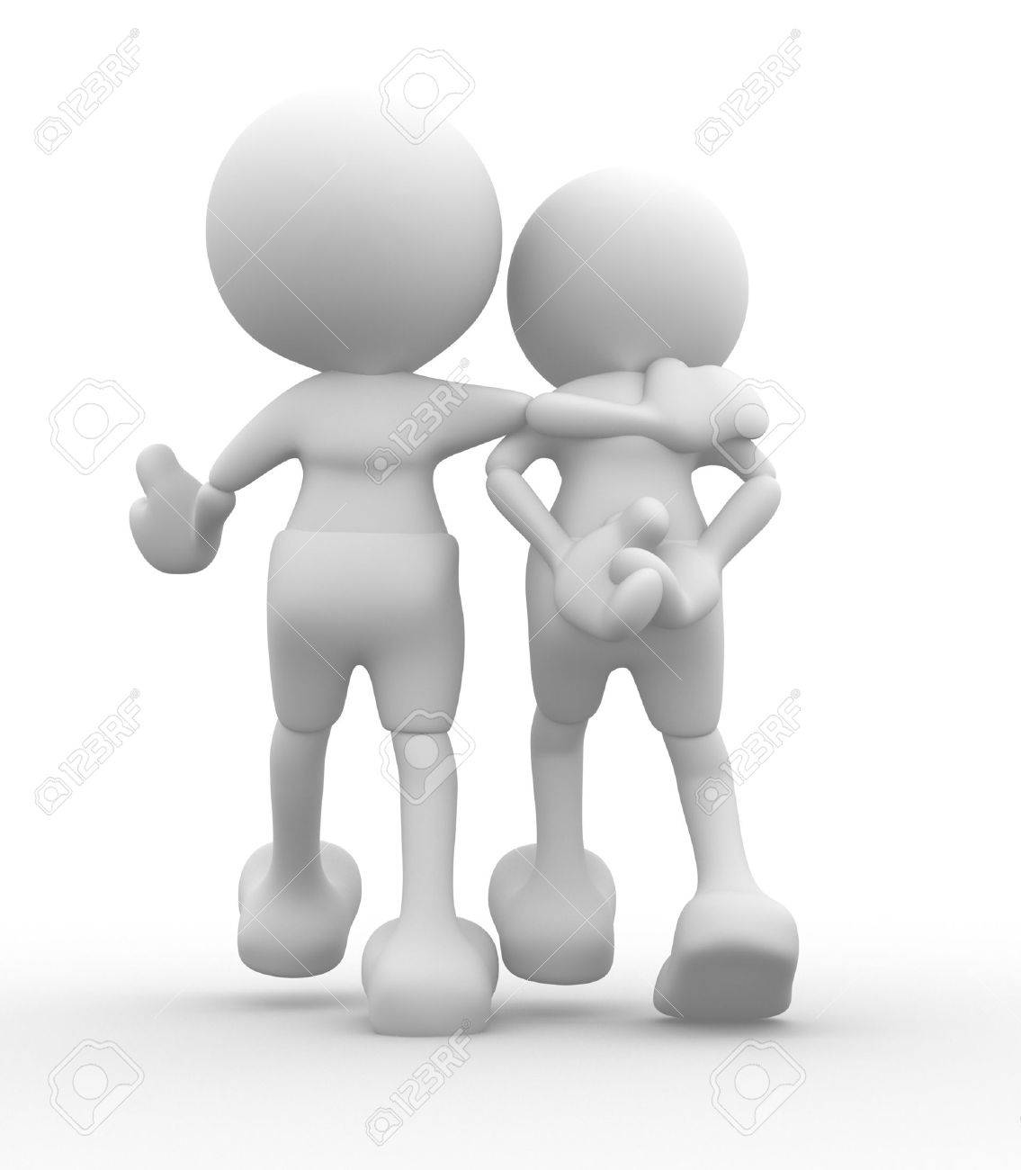3d people - men, person walking with to hands behind and a friend  Concept of friendship Stock Photo - 14868437