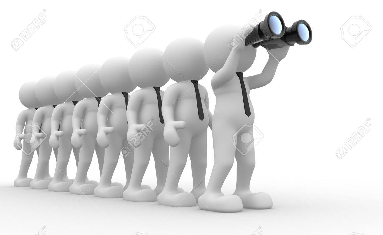 3d people - men,  person  with a binocular  Search Concept Stock Photo - 14868597