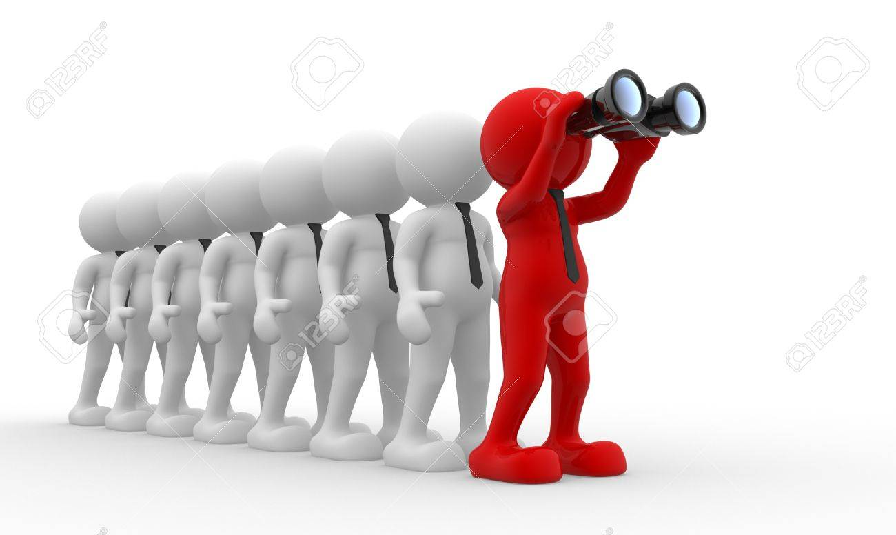 3d people - men,  person  with a binocular  Search Concept Stock Photo - 14868566
