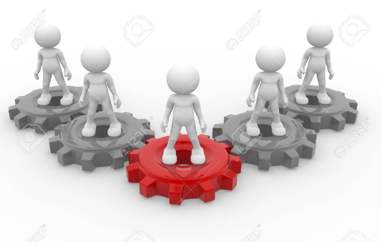 3d people - man, person and gear mechanism. Leadership and team. Stock Photo - 14869003