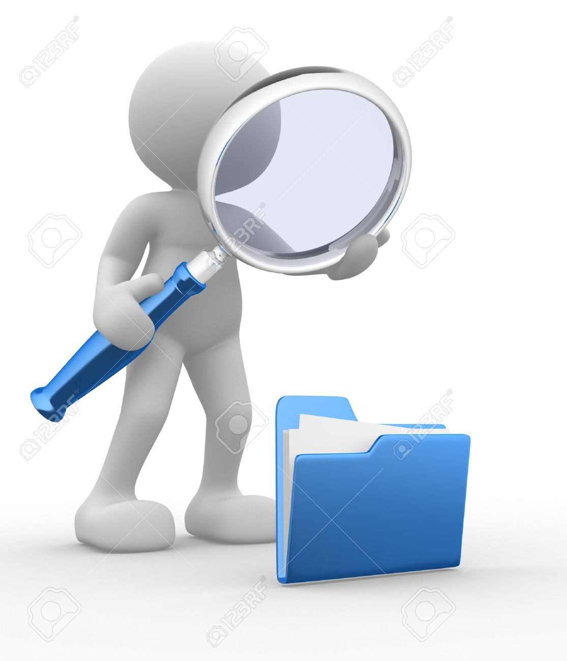 3d people - man, person with a folder and a magnifying glass. Search concept Stock Photo - 14868817
