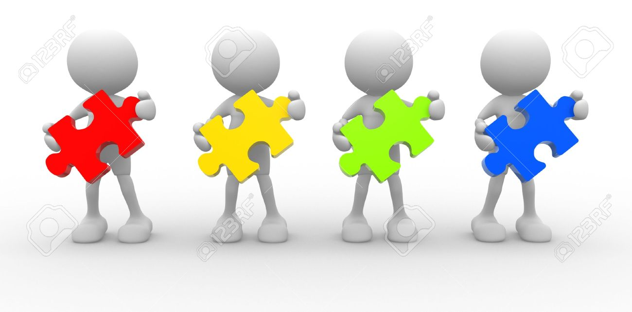 3d people - men, person with  pieces of puzzle. Stock Photo - 14868901