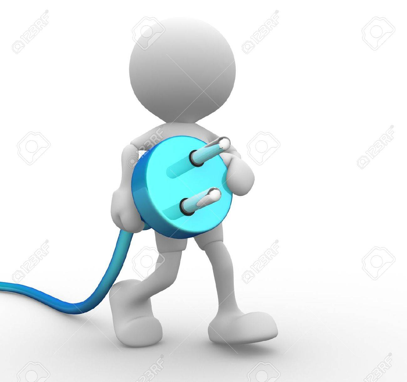 3d people - man, person carrying in his hand an electric plug. Stock Photo - 14869121