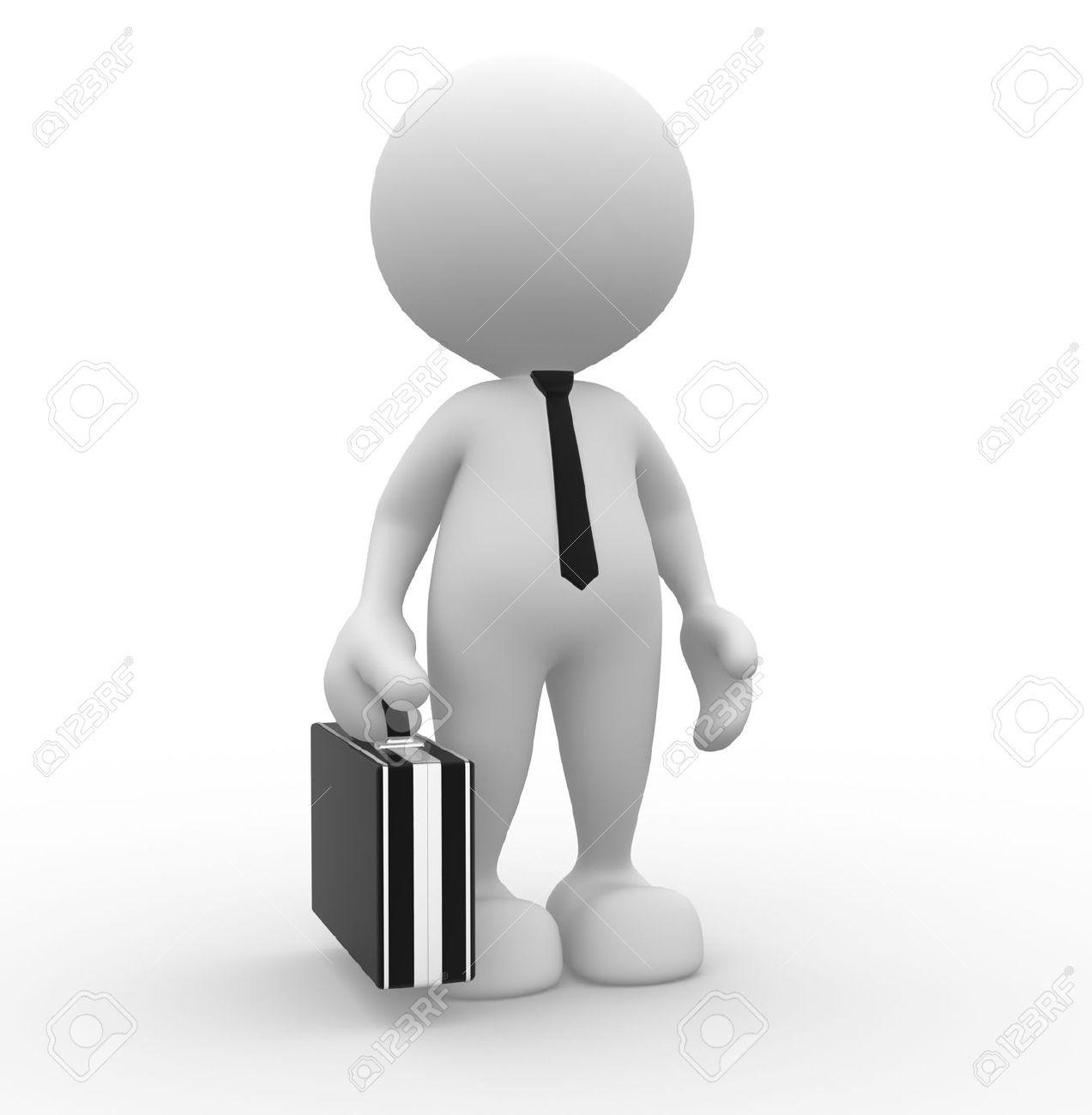 3d gente hombre persona con maletín y corbata hombre de negocios