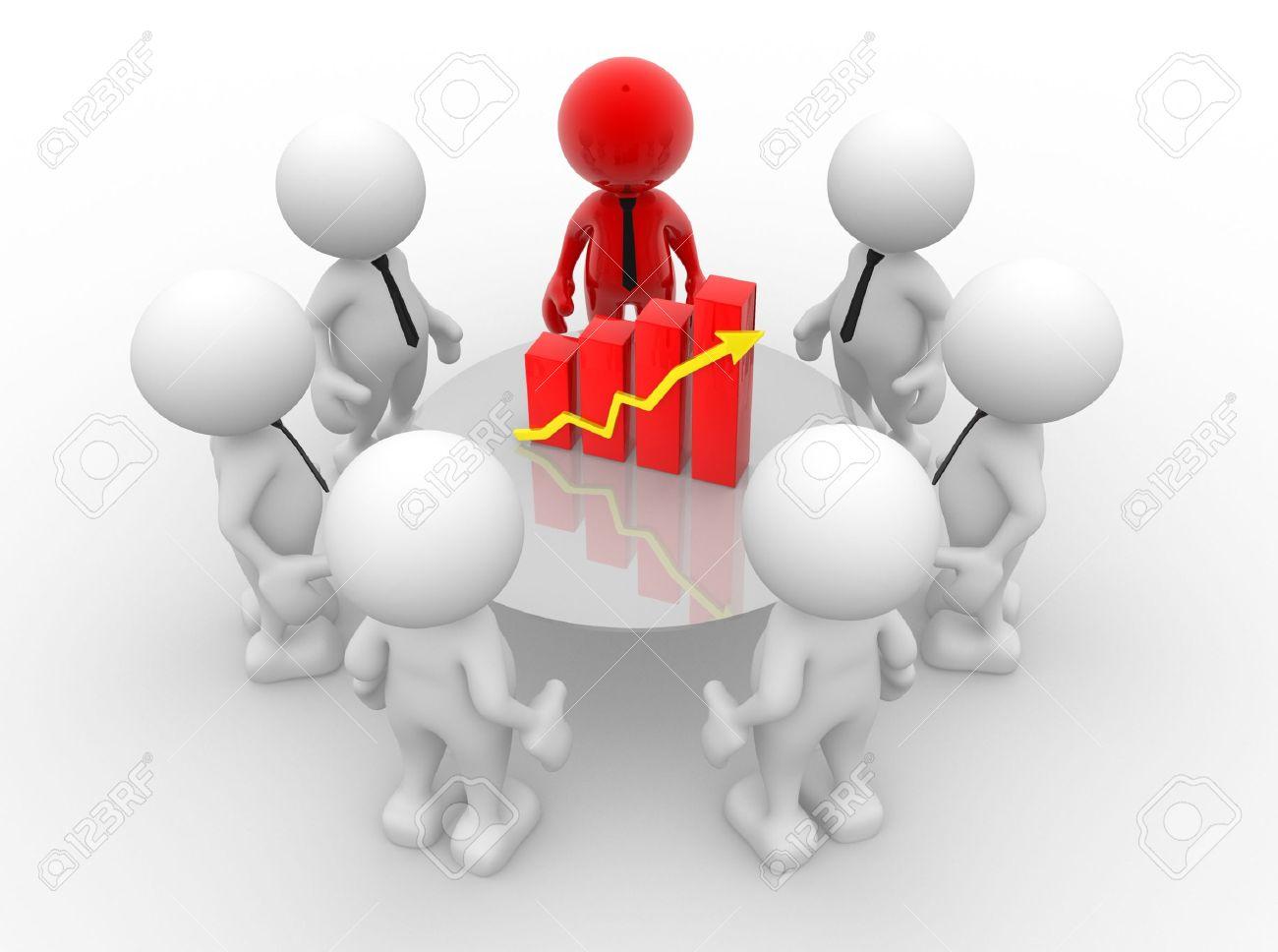3d people - men, person with financial chart - diagram. Business success concept - 14967189