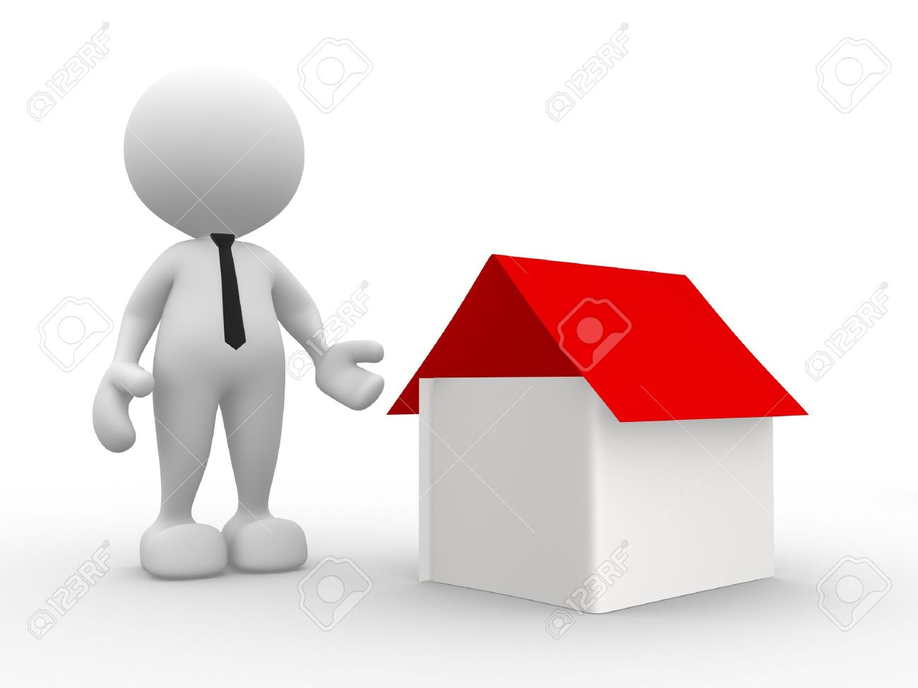 3d people - man, person with  a house. Seller Stock Photo - 15117880