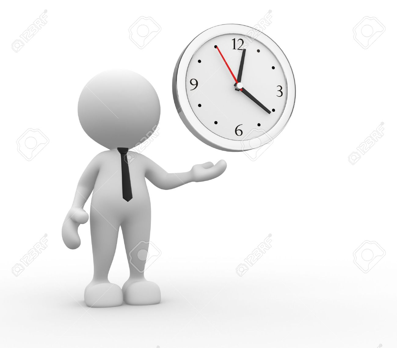 3d people - man, person and a clock Stock Photo - 15117861